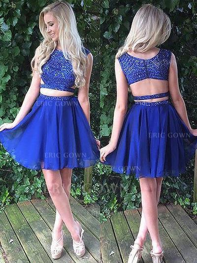A-Line/Princess Scoop Neck Short/Mini Chiffon Homecoming Dresses With Beading (022212394)