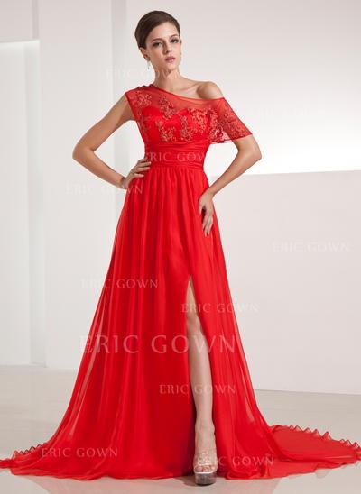Luxurious Chiffon Evening Dresses A-Line/Princess Chapel Train Off-the-Shoulder Short Sleeves (017200480)