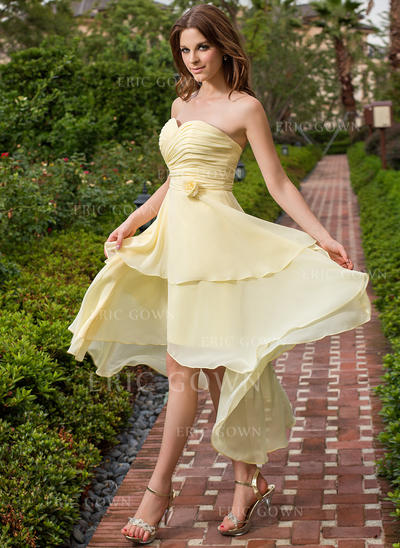 A-Line/Princess Sweetheart Asymmetrical Bridesmaid Dresses With Ruffle Flower(s) (007198102)