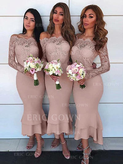 Sheath/Column Off-the-Shoulder Asymmetrical Bridesmaid Dresses With Lace (007217802)
