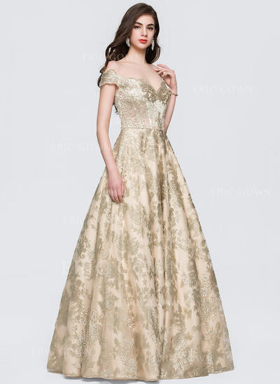 Ball-Gown Off-the-Shoulder Floor-Length Lace Evening Dress (017164980)