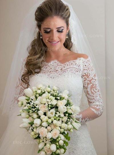 Sheath/Column Tulle Long Sleeves Off-The-Shoulder Sweep Train Wedding Dresses (002147816)