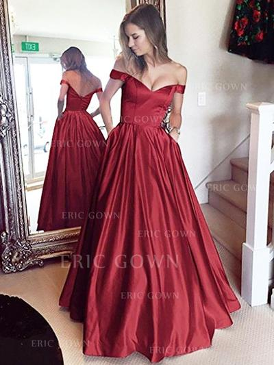 A-Line/Princess Off-the-Shoulder Floor-Length Prom Dresses With Ruffle (018212207)