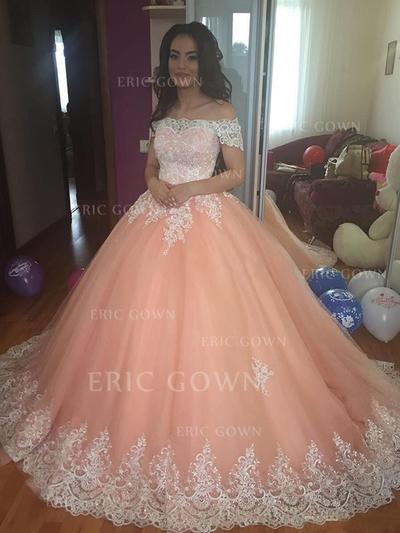 Ball-Gown Off-the-Shoulder Court Train Prom Dresses With Lace (018217921)
