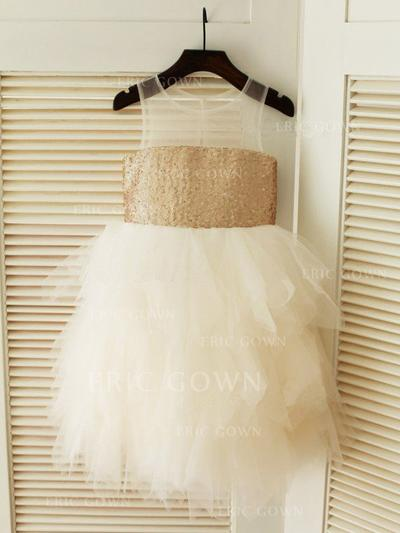 A-Line/Princess Scoop Neck Knee-length With Ruffles Tulle/Sequined Flower Girl Dresses (010211876)