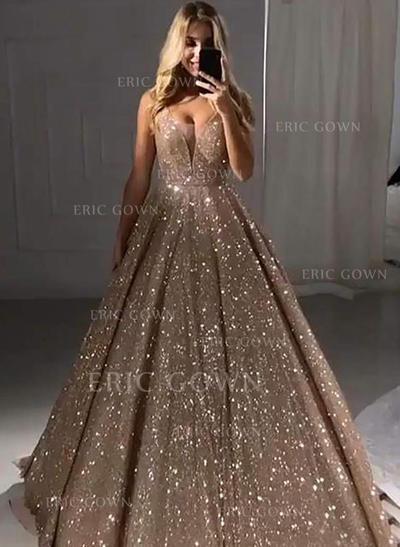 A-Line/Princess V-neck Floor-Length Prom Dresses (018219380)