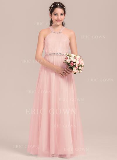 A-Line/Princess Floor-length Flower Girl Dress - Tulle/Charmeuse Sleeveless Square Neckline With Beading (010144538)