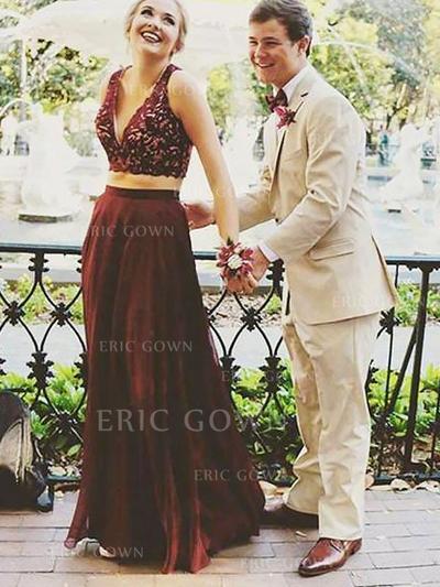 A-Line/Princess Chiffon Prom Dresses Lace V-neck Sleeveless Floor-Length Detachable (018210334)