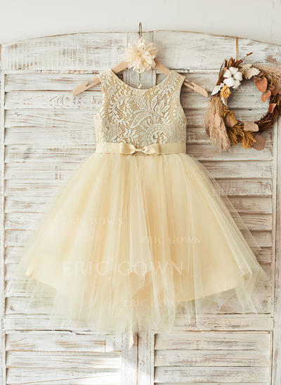 A-Line/Princess Knee-length Flower Girl Dress - Tulle/Lace Sleeveless Scoop Neck (010108312)