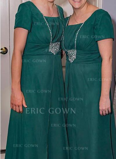 A-Line/Princess Chiffon Short Sleeves Square Neckline Floor-Length Zipper Up Mother of the Bride Dresses (008212810)