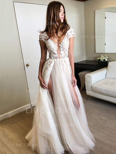 A-Line/Princess Tulle Prom Dresses Appliques Lace Split Front V-neck Sleeveless Floor-Length (018196645)