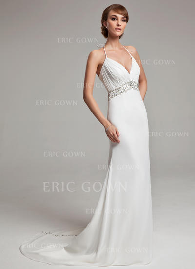 A-Line/Princess Chiffon Sleeveless Halter Court Train Wedding Dresses (002001676)