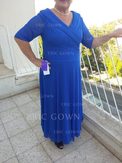 A-Line/Princess Chiffon 1/2 Sleeves V-neck Floor-Length Zipper Up Mother of the Bride Dresses (008212812)
