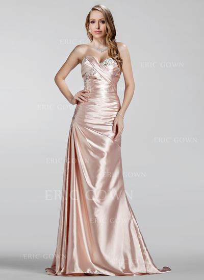 A-Line/Princess Sweetheart Sweep Train Evening Dresses With Ruffle Beading (017020330)