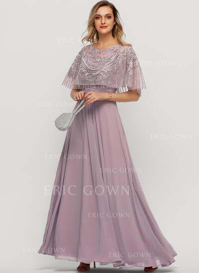 A-Line Scoop Neck Floor-Length Chiffon Evening Dress With Sequins (017209147)