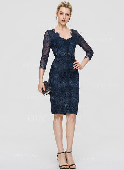 Sheath/Column V-neck Knee-Length Lace Cocktail Dress (016197108)