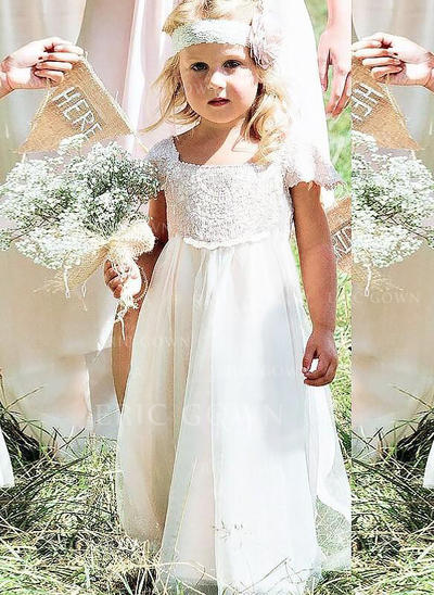 Stunning Square Neckline Trumpet/Mermaid Flower Girl Dresses Floor-length Chiffon/Lace Sleeveless (010145256)