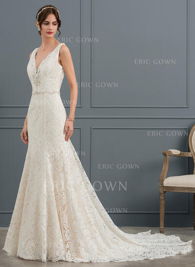 Trumpet/Mermaid V-neck Cathedral Train Lace Wedding Dress With Beading Sequins (002145318)