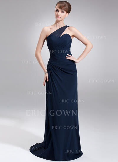 Sheath/Column One-Shoulder Sweep Train Chiffon Mother of the Bride Dress With Ruffle (008006499)