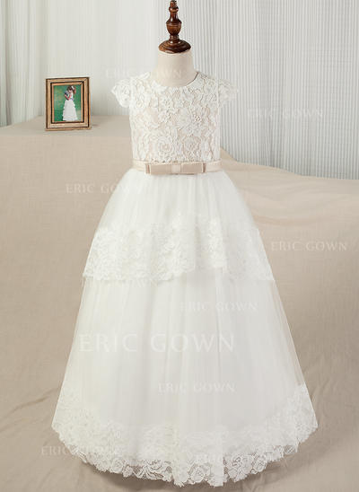 Ball Gown Scoop Neck Floor-length With Sash/Appliques Satin/Tulle/Lace Flower Girl Dresses (010130849)
