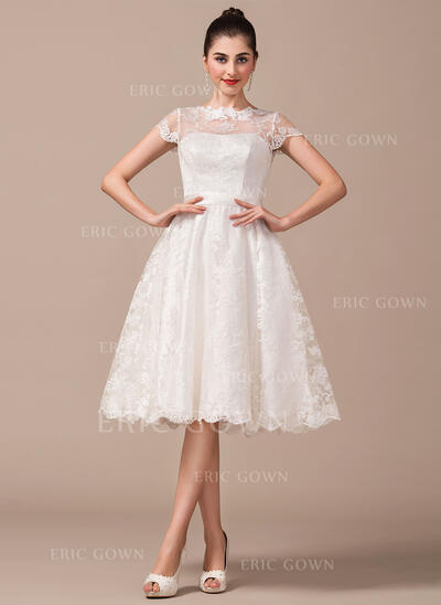 A-Line Illusion Knee-Length Lace Wedding Dress With Bow(s) (002068791)