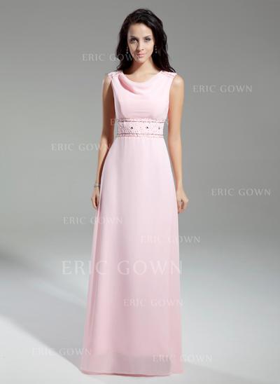 A-Line/Princess Chiffon Sleeveless Cowl Neck Floor-Length Zipper Up Mother of the Bride Dresses (008211371)