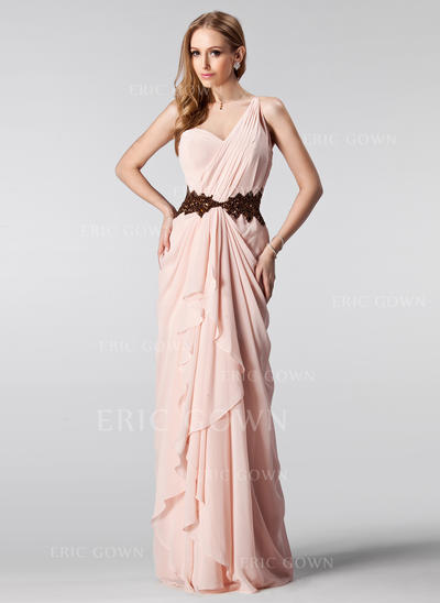 A-Line/Princess Floor-Length Prom Dresses One-Shoulder Chiffon Sleeveless (018004909)