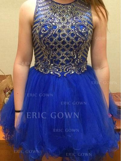 A-Line/Princess Scoop Neck Short/Mini Tulle Homecoming Dresses With Beading (022212321)