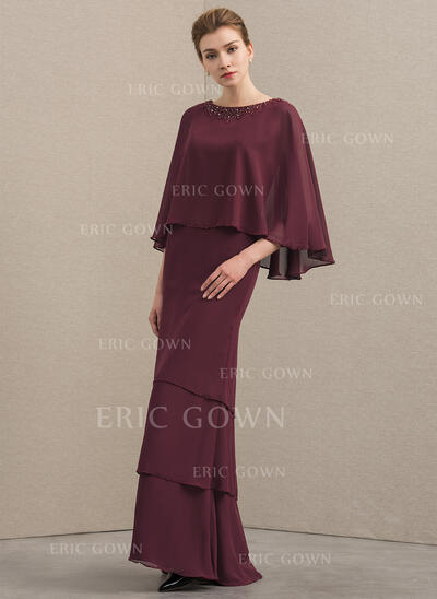A-Line/Princess Scoop Neck Floor-Length Chiffon Mother of the Bride Dress With Beading Sequins Cascading Ruffles (008152139)
