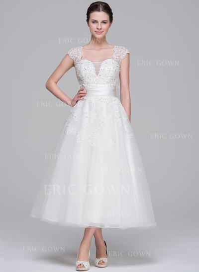 Ball-Gown Sweetheart Tea-Length Tulle Wedding Dress With Ruffle Beading Appliques Lace Sequins (002071540)