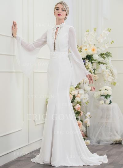 Trumpet/Mermaid High Neck Sweep Train Chiffon Wedding Dress With Beading Sequins (002096099)