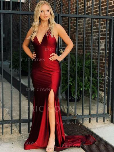 Trumpet/Mermaid V-neck Sweep Train Prom Dresses With Split Front (018218631)