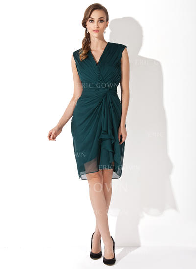 Sheath/Column Chiffon Sleeveless V-neck Knee-Length Zipper Up Mother of the Bride Dresses (008006152)