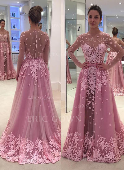 A-Line/Princess Scoop Neck Floor-Length Tulle Evening Dresses With Appliques Lace (017217097)