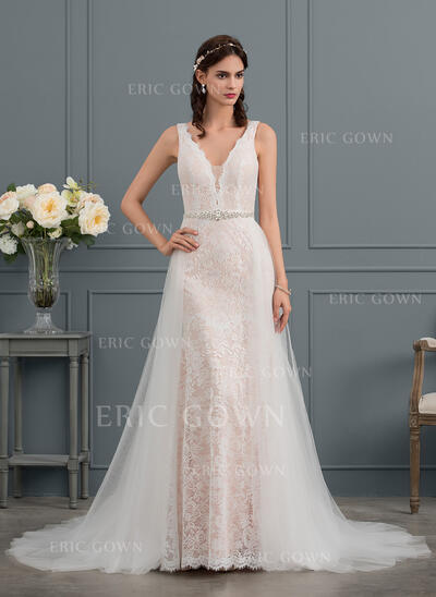 Trumpet/Mermaid V-neck Court Train Lace Wedding Dress With Beading (002153462)