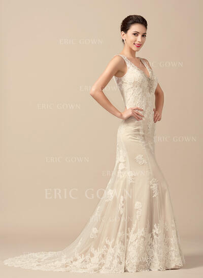 Trumpet/Mermaid V-neck Sweep Train Tulle Wedding Dress With Beading (002066958)