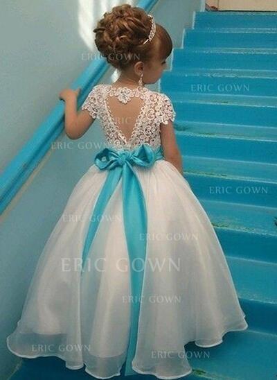 Elegant Scoop Neck A-Line/Princess Flower Girl Dresses Ankle-length Organza/Lace Sleeveless (010210941)