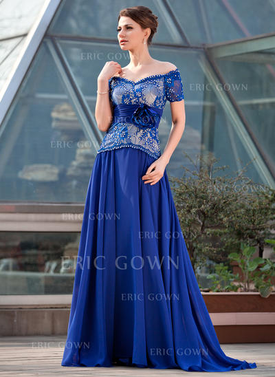 A-Line/Princess Chiffon Lace Short Sleeves Off-the-Shoulder Sweep Train Zipper Up Mother of the Bride Dresses (008211464)