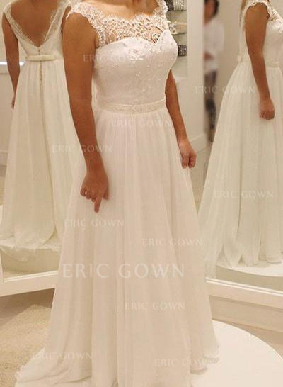 A-Line/Princess Chiffon Sleeveless Scoop Sweep Train Wedding Dresses (002144871)
