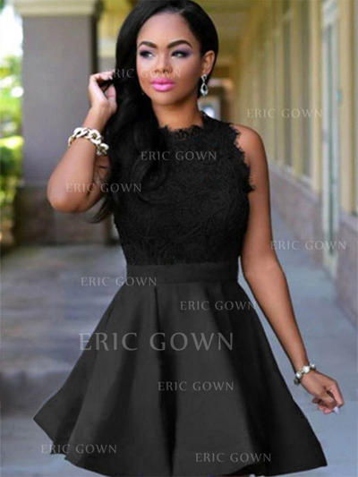 A-Line/Princess Scoop Neck Short/Mini Cocktail Dresses With Lace (016218421)
