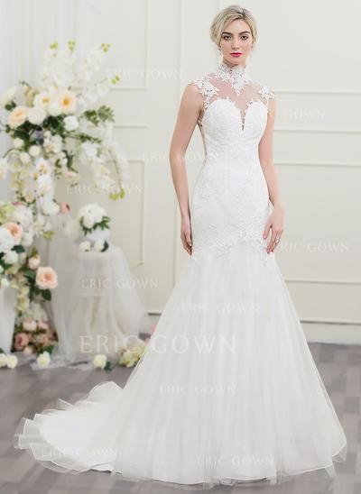 Trumpet/Mermaid High Neck Chapel Train Tulle Wedding Dress (002095823)