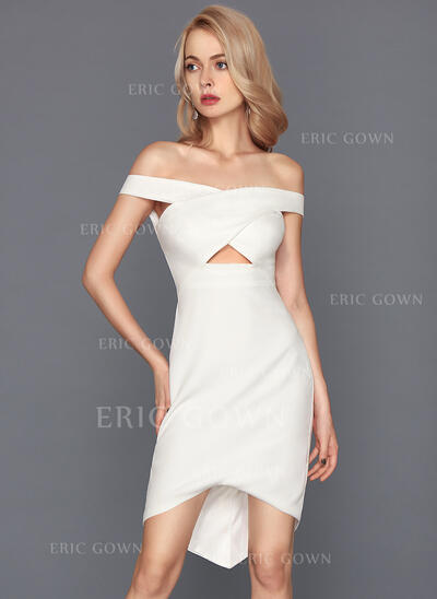 Sheath/Column Off-the-Shoulder Asymmetrical Stretch Crepe Cocktail Dress (016117253)