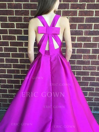 Flattering Satin Evening Dresses A-Line/Princess Floor-Length V-neck Sleeveless (017212105)
