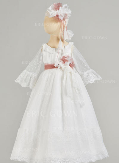 A-Line/Princess Scoop Neck Floor-length Satin Christening Gowns With Lace (2001217432)