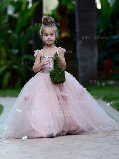 Ball Gown Square Neckline Court Train With Flower(s)/Sequins Tulle Flower Girl Dresses (010145232)