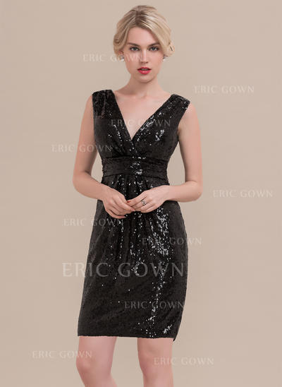 Sheath/Column V-neck Knee-Length Sequined Homecoming Dresses With Ruffle (022214158)