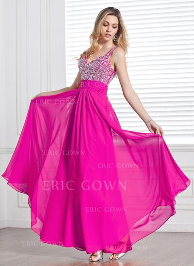 A-Line/Princess V-neck Floor-Length Chiffon Prom Dresses With Ruffle Beading Sequins (018013097)