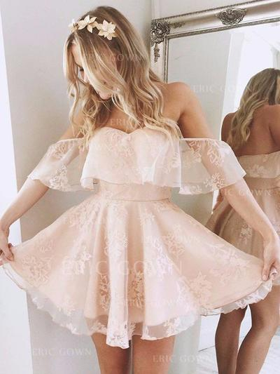 A-Line/Princess Off-the-Shoulder Short/Mini Lace Cocktail Dresses With Ruffle (016217664)
