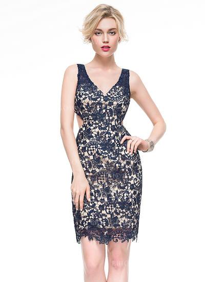 Sheath/Column V-neck Knee-Length Lace Cocktail Dress (016081177)