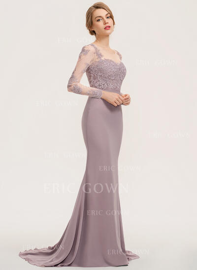 Trumpet/Mermaid Scoop Neck Sweep Train Chiffon Lace Evening Dress (017221854)
